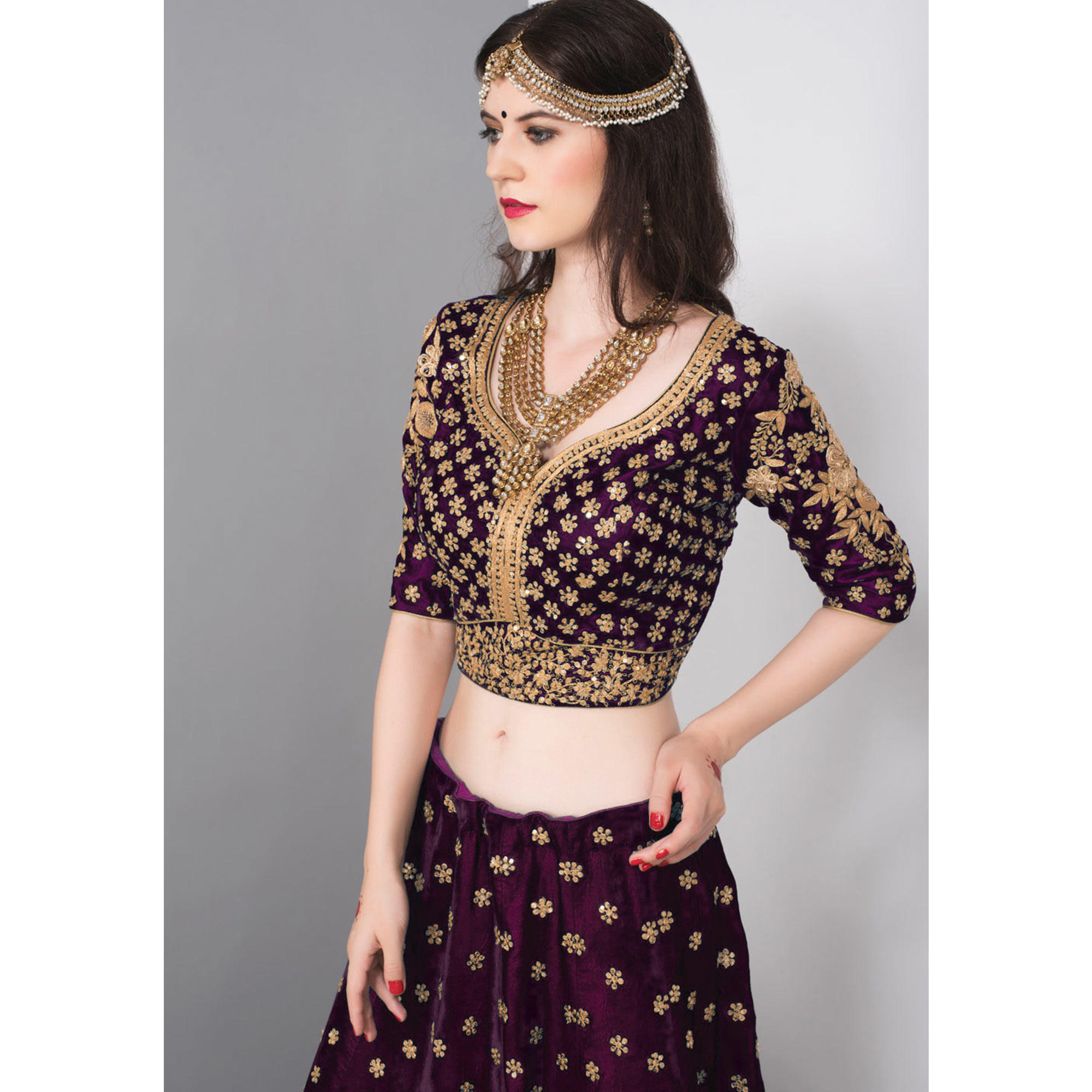 Marvellous Purple Colored Partywear Embroidered Pure Velvet Lehenga Choli