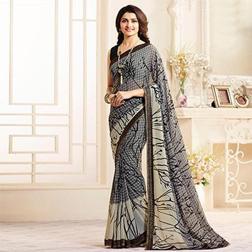 Dazzling Gray Casual Printed Georgette Saree