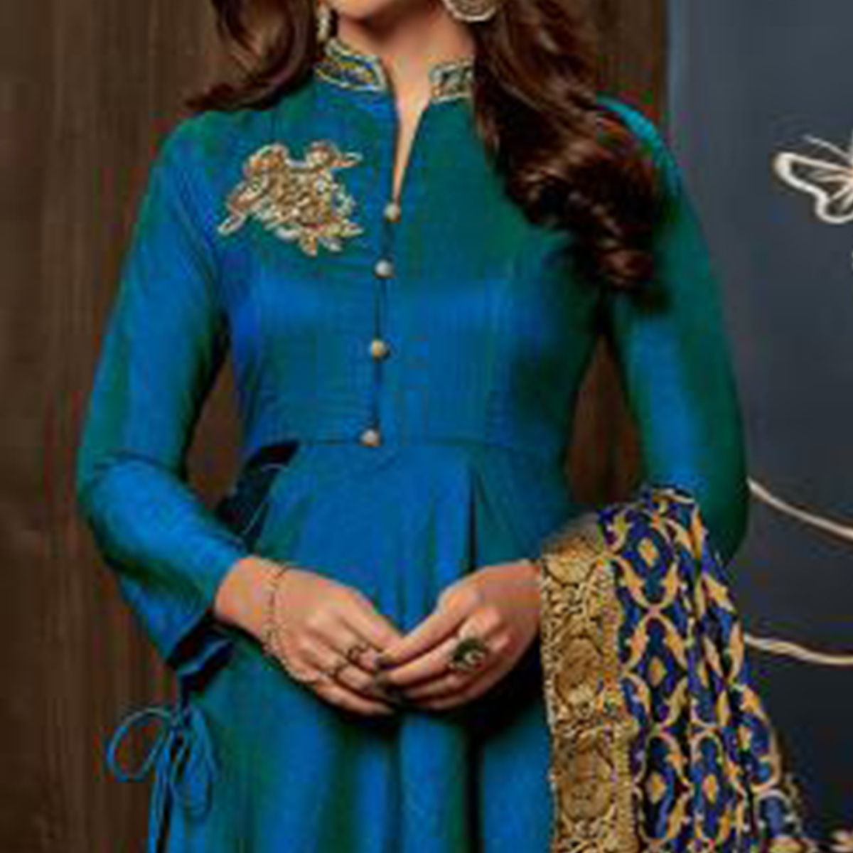 Beautiful Blue Colored Partywear Embroidered Art Silk Gown