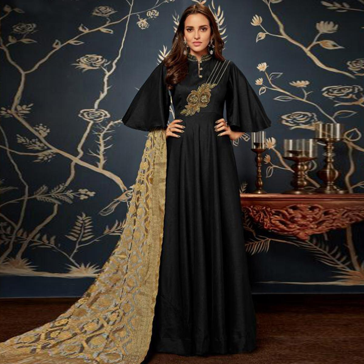 Flaunt Black Colored Partywear Embroidered Art Silk Gown