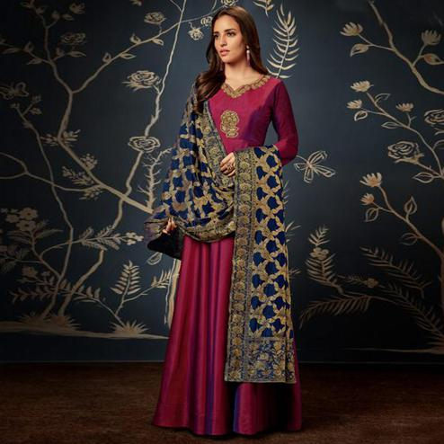 Stunning Magenta Pink Colored Partywear Embroidered Tapeta Silk Gown