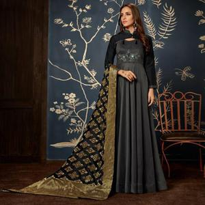 Sophisticated Blackish Gray Colored Partywear Embroidered Tapeta Silk Gown