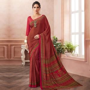 Adorable Red Colored Casual Printed Pure Crepe Saree