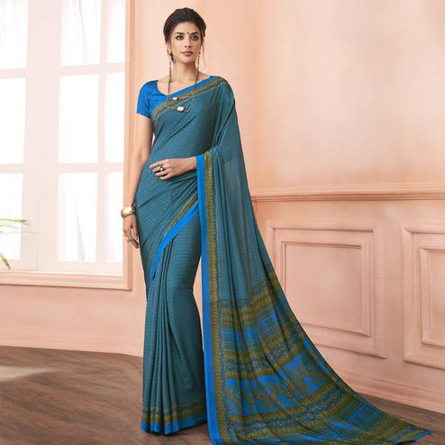 Attractive Blue Colored Casual Printed Pure Crepe Saree