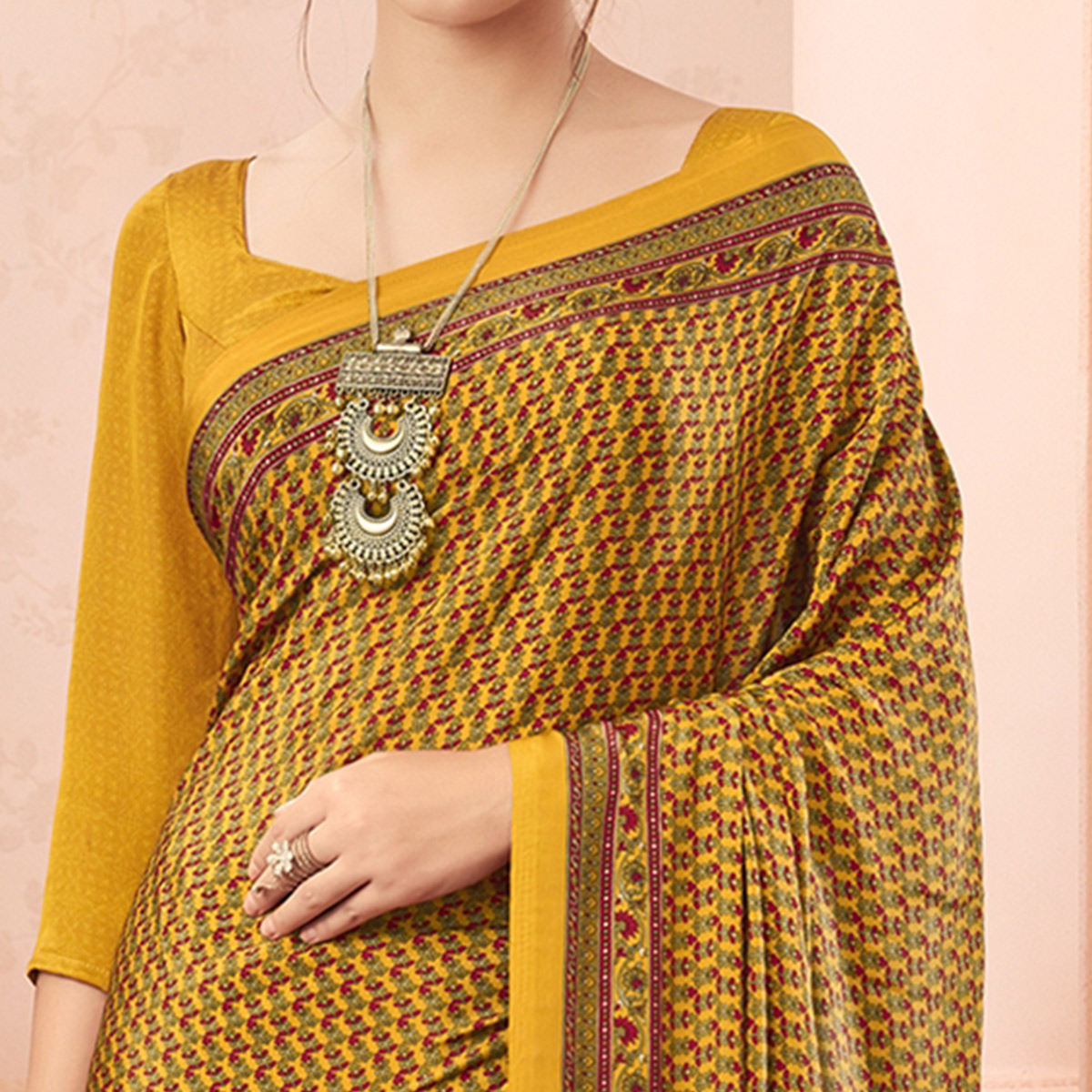 Beautiful Yellow Colored Casual Printed Pure Crepe Saree
