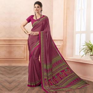 Gorgeous Pink Colored Casual Printed Pure Crepe Saree