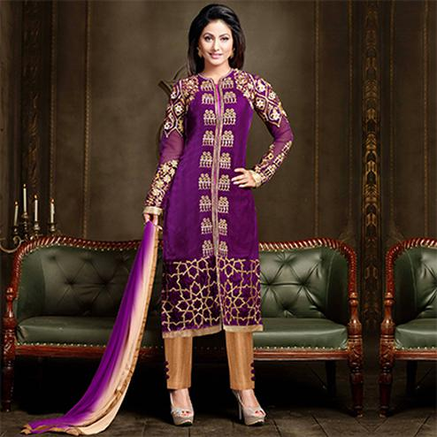 Beautiful Purple Designer Partywear Embroidered Velvet Salwar Suit
