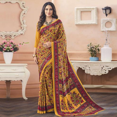 Classy Yellow Colored Casual Printed Pure Crepe Saree