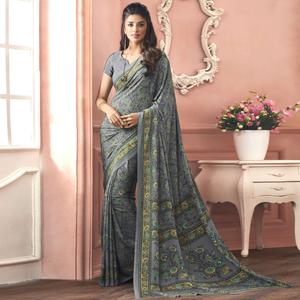 Glorious Gray Colored Casual Printed Pure Crepe Saree