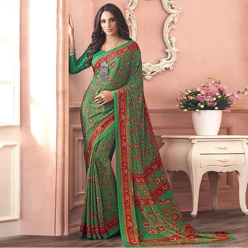 Graceful Green Colored Casual Printed Pure Crepe Saree