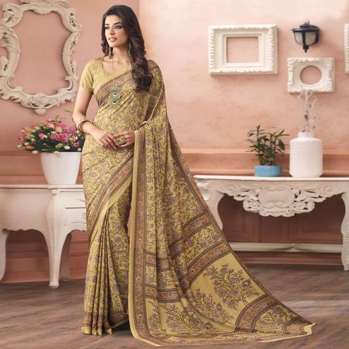Lovely Beige Colored Casual Printed Pure Crepe Saree