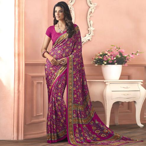 Pretty Pink Colored Casual Printed Pure Crepe Saree