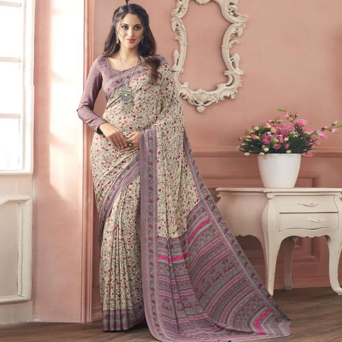 Charming Off White-Mauve Colored Casual Printed Pure Crepe Saree
