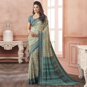 Ravishing Off White-Blue Colored Casual Printed Pure Crepe Saree