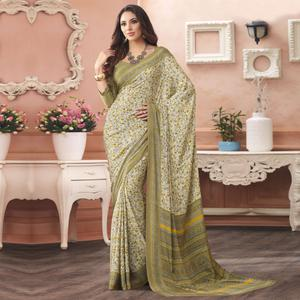 Delightful Off White- Green Colored Casual Printed Pure Crepe Saree