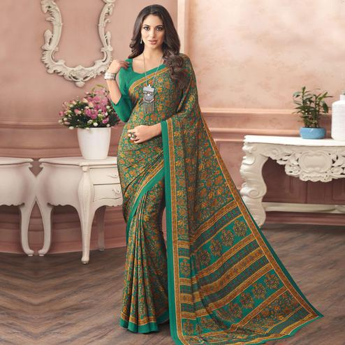 Stunning Green Colored Casual Printed Pure Crepe Saree