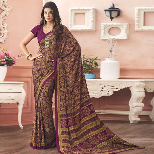 Blooming Wine Colored Casual Printed Pure Crepe Saree