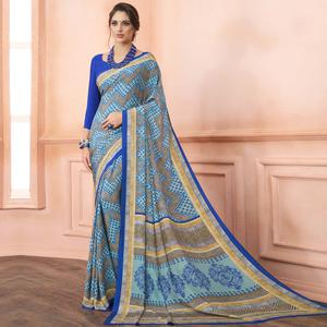 Marvellous Blue Colored Casual Printed Pure Crepe Saree
