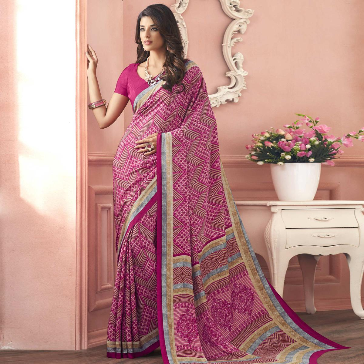 Breathtaking Pink Colored Casual Printed Pure Crepe Saree