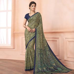 Flattering Beige-Blue Colored Casual Printed Pure Crepe Saree