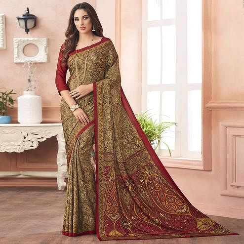 Dazzling Beige-Red Colored Casual Printed Pure Crepe Saree