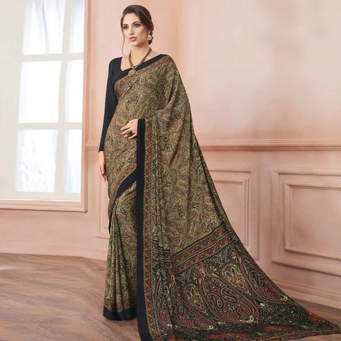 Opulent Beige-Black Colored Casual Printed Pure Crepe Saree