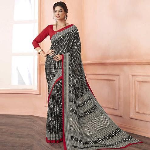 Radiant Black-Red Colored Casual Printed Pure Crepe Saree