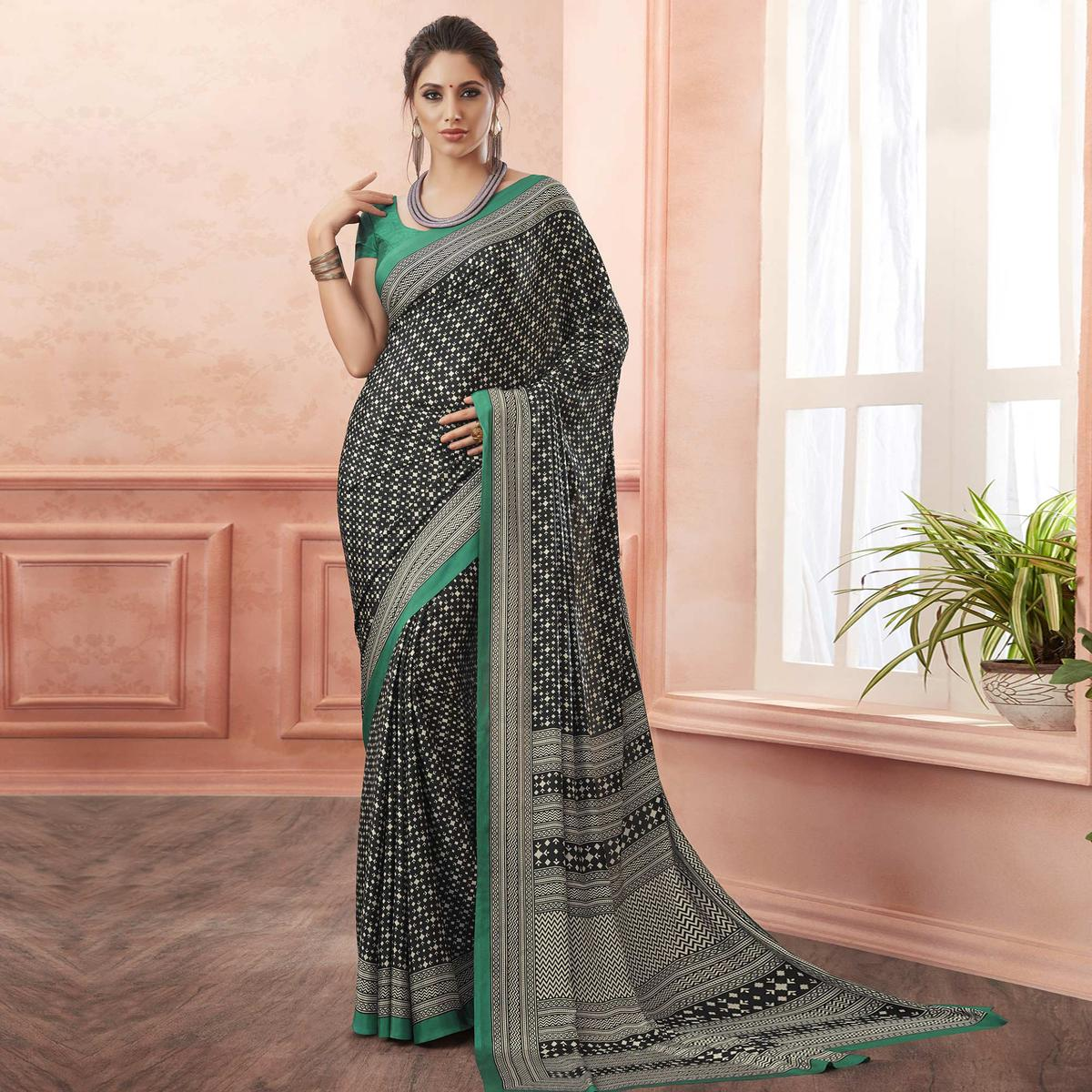 Alluring Black-Green Colored Casual Printed Pure Crepe Saree