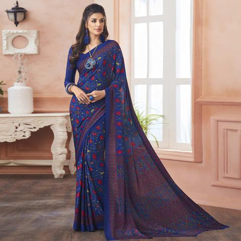 Refreshing Blue Colored Casual Printed Pure Crepe Saree