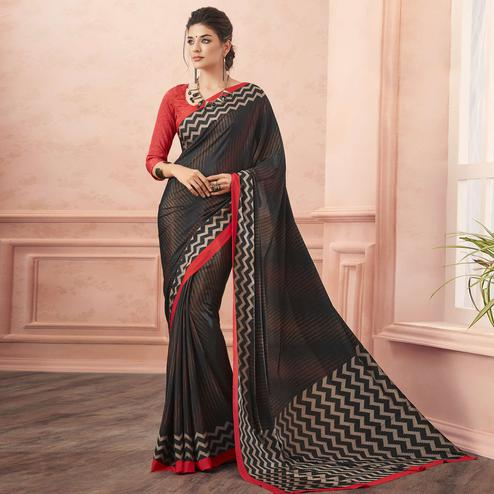 Unique Black-Red Colored Casual Printed Pure Crepe Saree