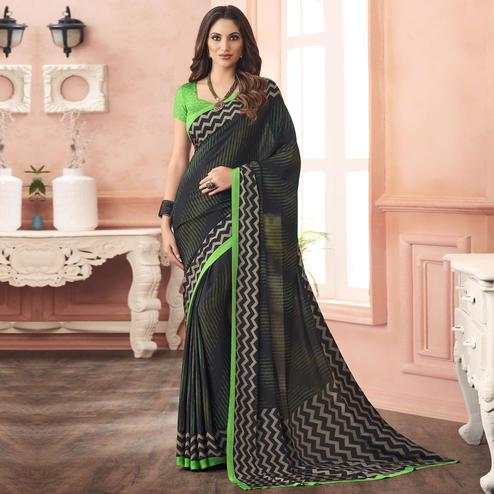 Pleasant Black-Green Colored Casual Printed Pure Crepe Saree