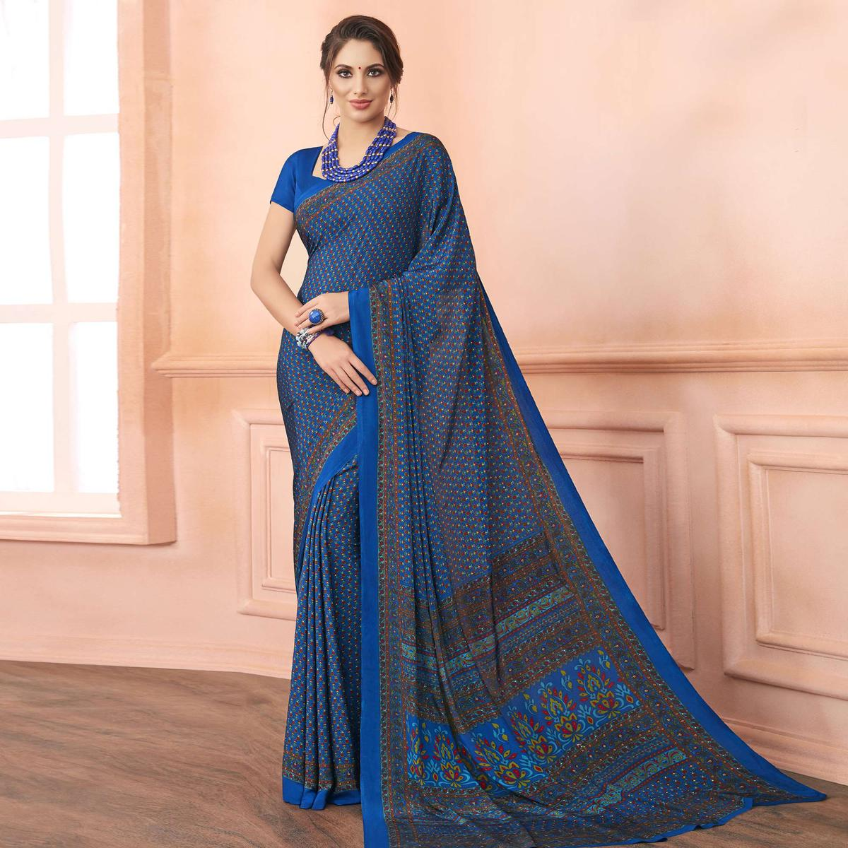 Sophisticated Blue Colored Casual Printed Pure Crepe Saree