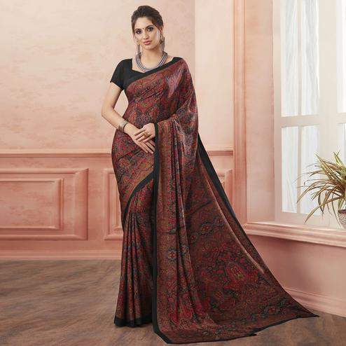 Desirable Maroon Colored Casual Printed Pure Crepe Saree