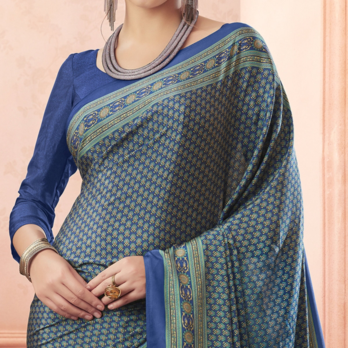 Jazzy Blue Colored Casual Printed Pure Crepe Saree