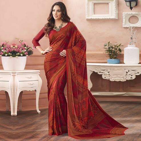 Surpassing Red Colored Casual Printed Pure Crepe Saree