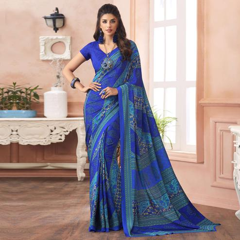 Groovy Blue Colored Casual Printed Pure Crepe Saree