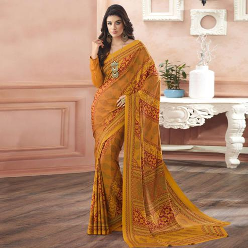 Prominent Yellow Colored Casual Printed Pure Crepe Saree