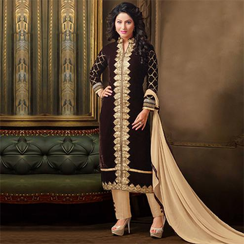 Ravishing Brown Designer Partywear Embroidered Velvet Salwar Suit