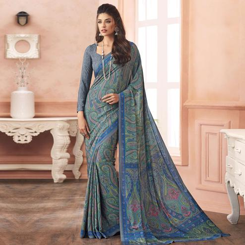 Capricious Blue Colored Casual Printed Pure Crepe Saree