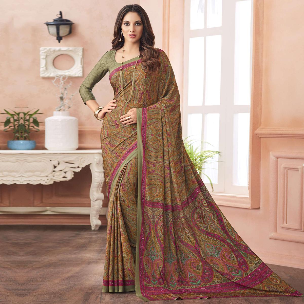 Adorning Rust Yellow Colored Casual Printed Pure Crepe Saree