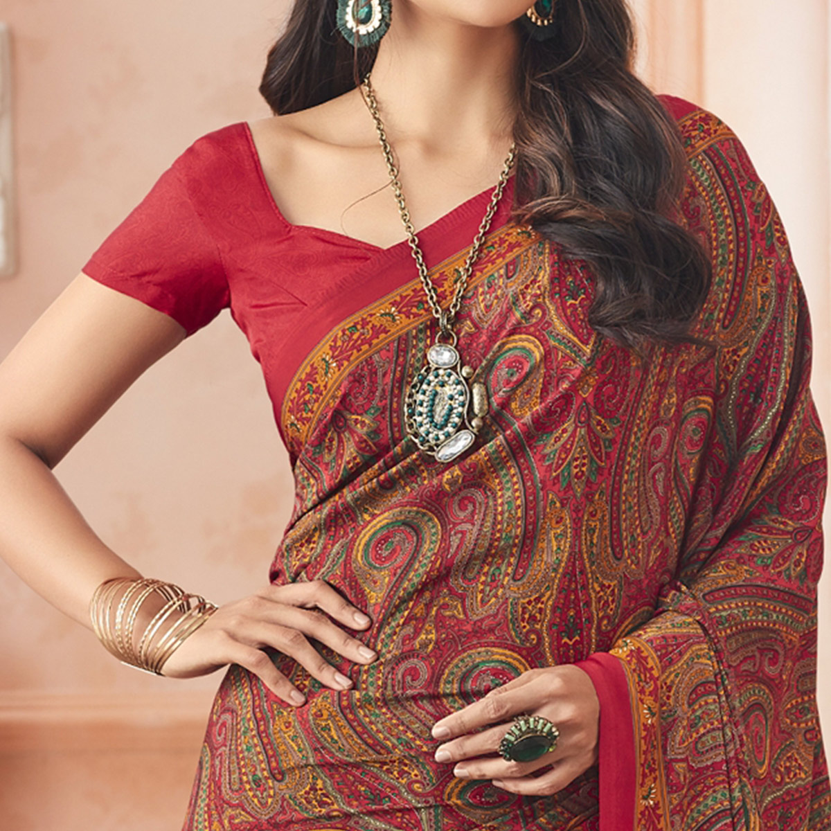 Captivating Red Colored Casual Printed Pure Crepe Saree