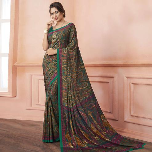 Flirty Green Colored Casual Printed Pure Crepe Saree
