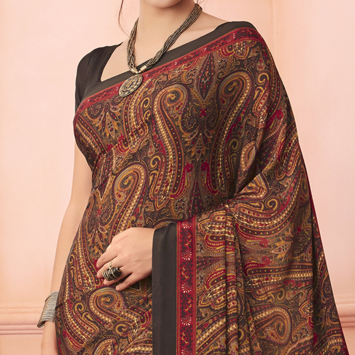 Glowing Brown Colored Casual Printed Pure Crepe Saree