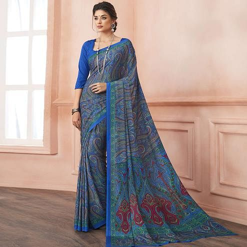 Trendy Blue Colored Casual Printed Pure Crepe Saree