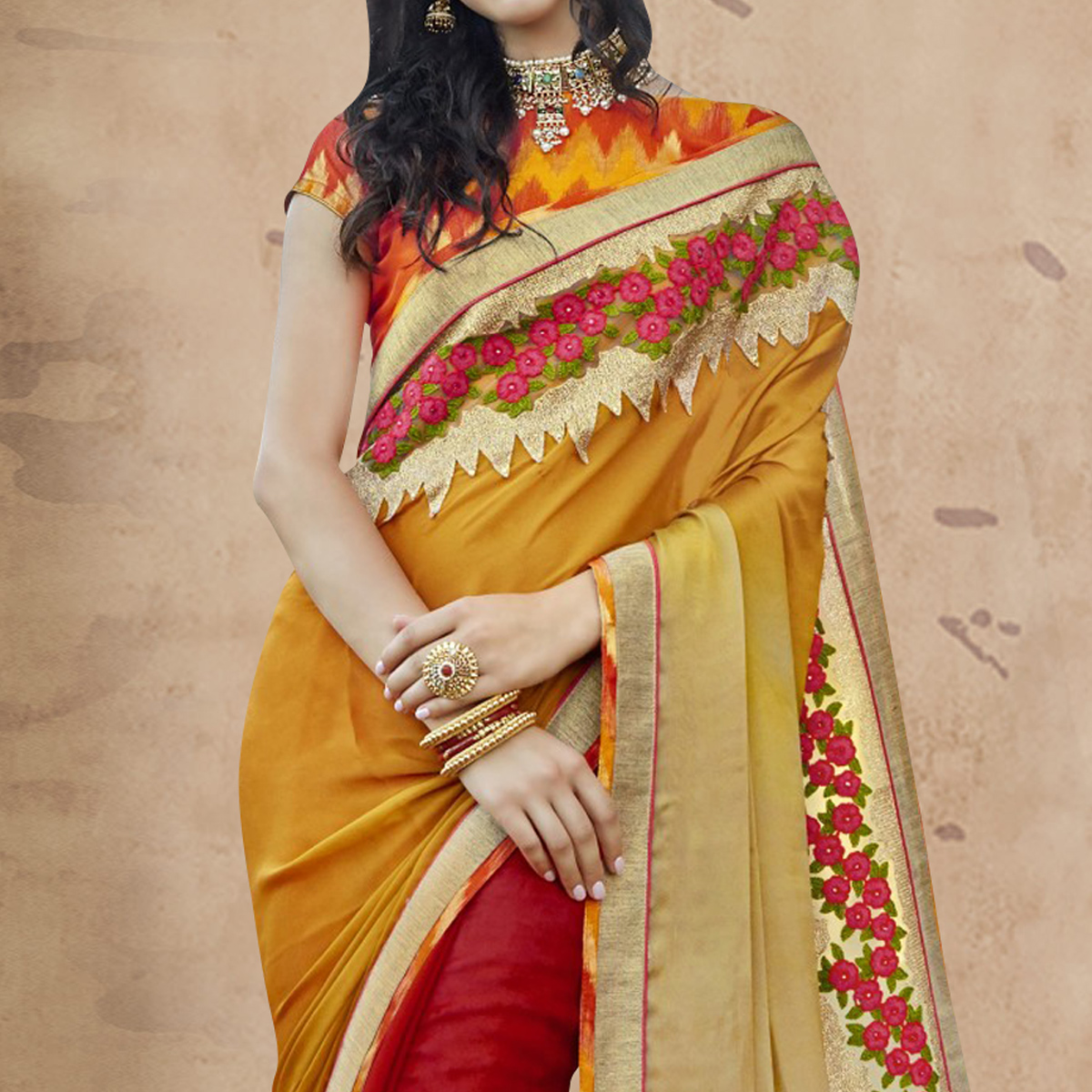 Gorgeous Red - Beige Colored Party Wear Embroidered Georgette Saree