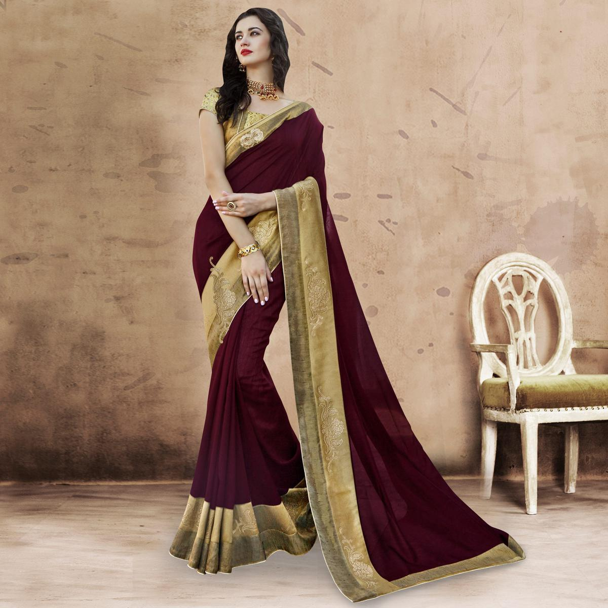 16270a0408 Buy Glorious Wine Colored Party Wear Embroidered Chanderi Silk Saree for  womens online India, Best Prices, Reviews - Peachmode
