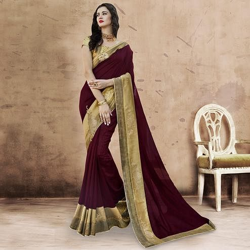 Glorious Wine Colored Party Wear Embroidered Chanderi Silk Saree