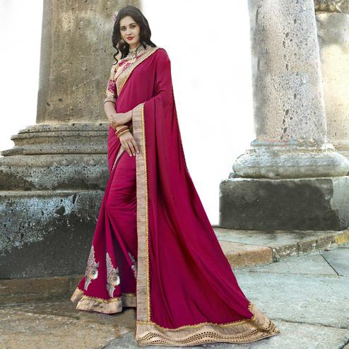 Ravishing Magenta Colored Party Wear Embroidered Chanderi Silk Saree