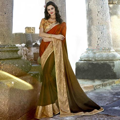 Delightful Green - Red Colored Party Wear Embroidered Chanderi Silk Saree