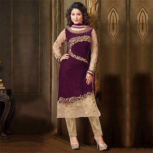 Charming Purple Designer Partywear Embroidered Velvet Salwar Suit